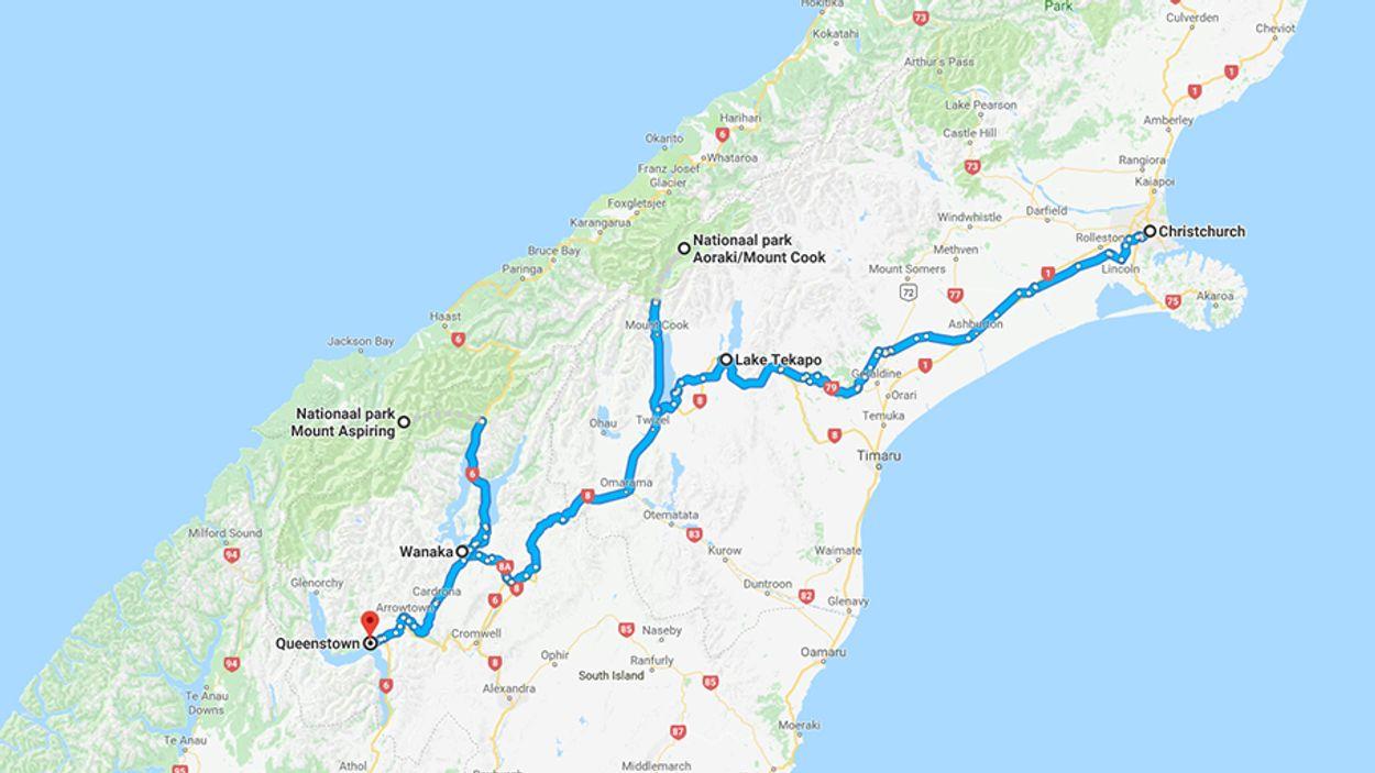Kaart Nieuw-Zeeland