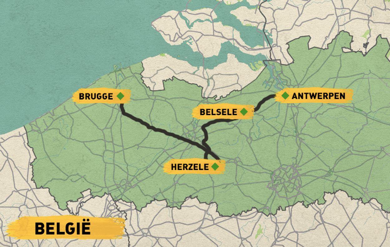 Routekaart brouwerijroute